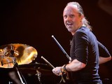 Lars Ulrich of US metal band Metallica performs on the Pyramid Stage