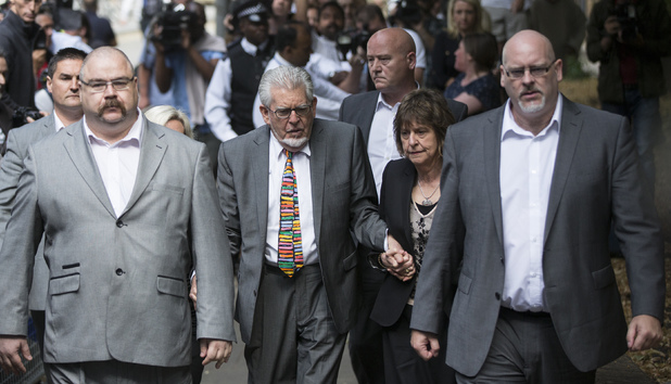 Caption:LONDON, ENGLAND - JULY 04: Artist and television personality Rolf Harris arrives at Southwark Crown Court to face sentencing on 12 counts of indecent assault on July 4, 2014 in London, England. 84 -year-old entertainer Rolf Harris has been found guilty of indecently assaulting four girls between 1968 and 1986, he was arrested in March 2013 by police officers working on Operation Yewtree. (Photo by Tristan Fewings/Getty Images)