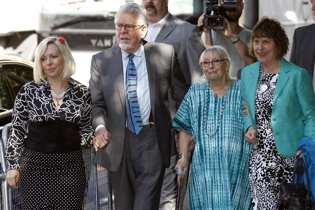 Rolf Harris and family arrive at Southwark Crown Court, June 30