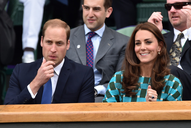 Catherine, Duchess of Cambridge and Prince William, Duke of Cambridge attend the mens singles final between Novak Djokovic and Roger Federer on centre court