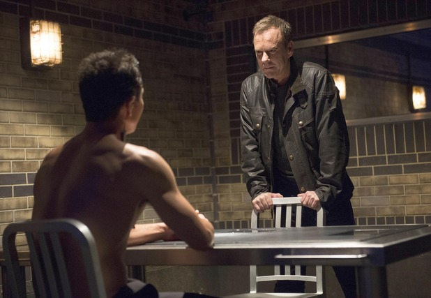 "Jack (Kiefer Sutherland) questions Navarro in the ""8:00 PM - 9:00 PM"" episode of 24: LIVE ANOTHER DAY"