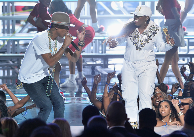 Pharrell Williams and Missy Elliott perform onstage during the BET Awards 2014