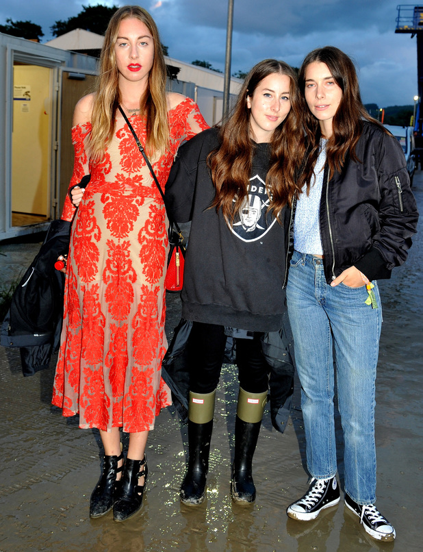 Haim attend the Glastonbury Festival 2014