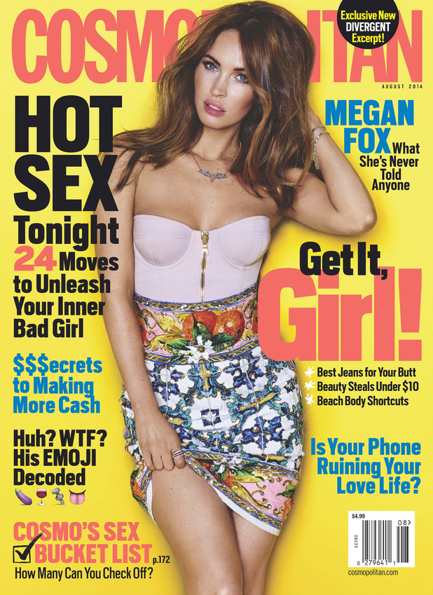 Megan Fox on the August cover of Cosmopolitan