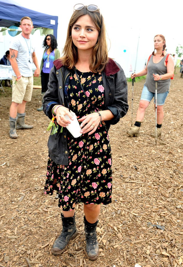 Jenna Coleman attends the Glastonbury Festival 2014