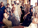 Nine actresses from the ITV drama take part in the elegant photoshoot.
