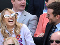 See Suki Waterhouse, Bradley Cooper doubled over in hysterics at Wimbledon.