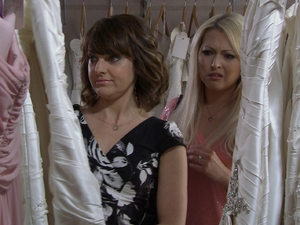 Dani and Sheryl shop for wedding dresses