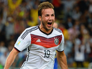 Mario Goetze of Germany celebrates scoring his team's first goal in extra time during the 2014 FIFA World Cup