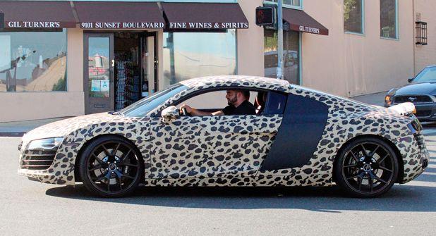 Justin Bieber new custom painted Audi R8 car, Los Angeles, America - 09 Jul 2014 Custom leopard-print painted Audi R8 car owned by Justin Bieber, driven by one of his bodyguards 9 Jul 2014