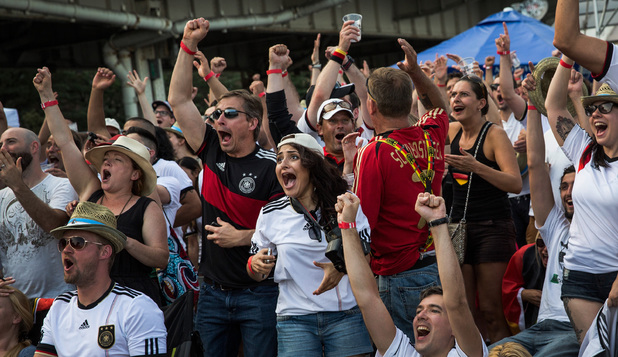 Germany fans celebrate the seventh German goal against Brazil in the 2014 FIFA World Cup semi-final