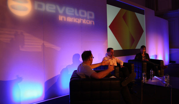 Andrew House & Mark Cerny speaking at the Develop conference in Brighton