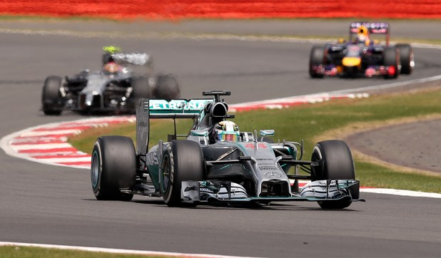 Lewis Hamilton drives at the Silverstone circuit