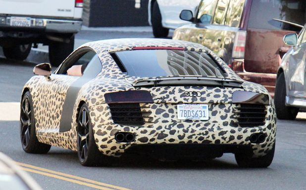 Justin Bieber new custom painted Audi R8 car, Los Angeles, America - 09 Jul 2014 Custom leopard-print painted Audi R8 car owned by Justin Bieber, driven by one of his bodyguards 9 Jul 2014