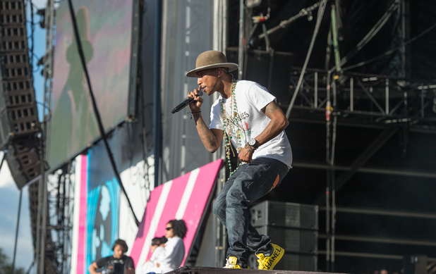 Pharrell Williams performs on stage at the Wireless Festival Birmingham