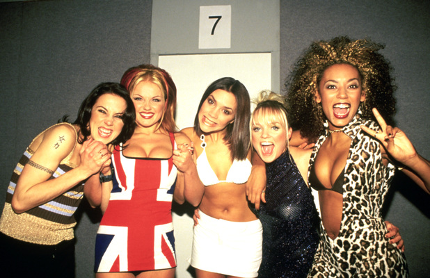 Spice Girls photographed backstage at the Brit Awards in February 1997.
