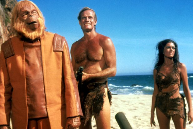 Charlton Heston, Linda Harrison and Maurice Evans in Planet of the Apes (1968)