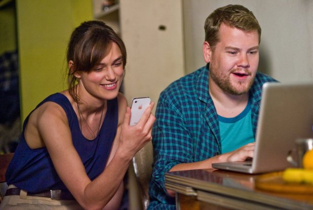 James Corden and Keira Knightley in Begin Again (2013)