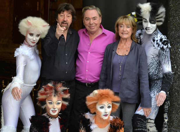 Director Trevor Nunn, Composer Andrew Lloyd Webber and Choreographer Gillian Lynne with cast members pose during a photocall for 'Cats' at the London Palladium