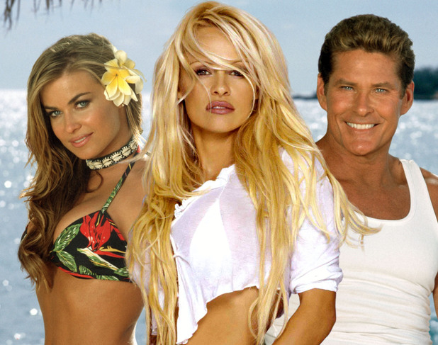 Carmen Electra, Pamela Anderson and David Hasselhoff in Baywatch: Hawaiian Wedding (2003)