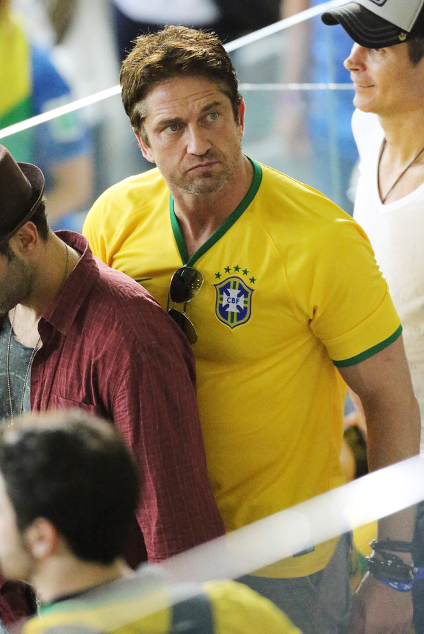 Brazil v Germany, 2014 FIFA World Cup football match, Semi Final, Arena De Sao Paulo, Sao Paulo, Brazil - 08 Jul 2014 Gerard Butler and Ellen Jabour during the 2014 FIFA World Cup Brazil Round of semi-final match between Brazil and Germany at Arena Mineirao in Rio De Janeiro, Brazil. 08/07/2014 8 Jul 2014