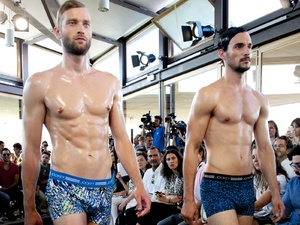 Models on the runway at Jockey show during MFSHOW in Madrid
