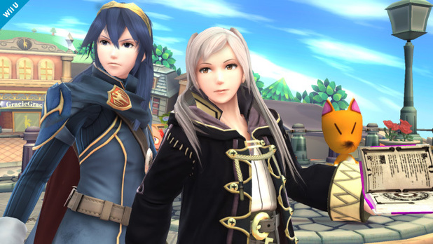 Chrom and female Robin in Super Smash Bros.