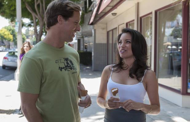 Nat Faxon as Russ & Karolin Luna as Isis in Married S01E01