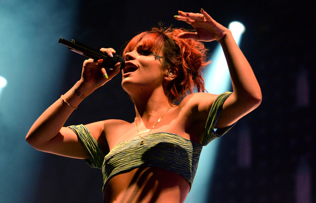 Lily Allen performs on the Obelisk Arena stage at the Latitude Festival 2014