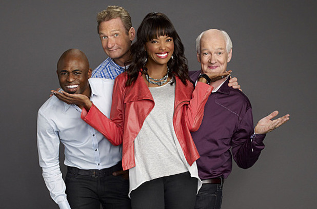 Wayne Brady, Ryan Stiles, Aisha Tyler, and Colin Mochrie on Whose Line Is It Anyway