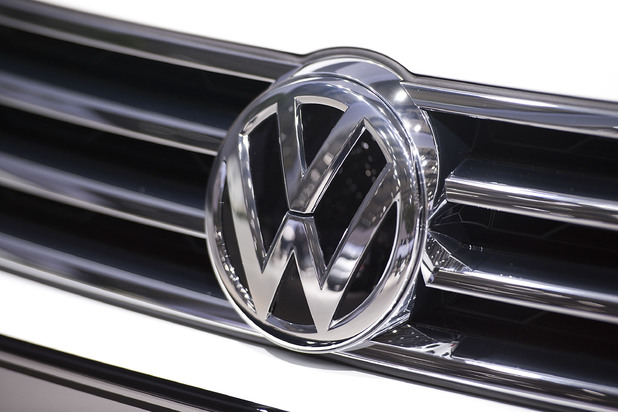 An emblem of Volkswagen is pictured ahead of Volkswagen annual shareholder meeting on May 13, 2014
