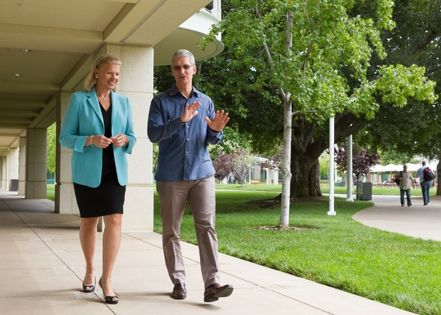 Apple CEO Tim Cook with IBM's Ginni Rometty