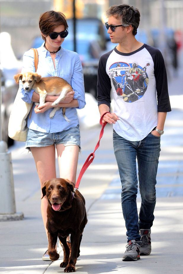 Anne Hathaway and Adam Shulman out and about, New York, America - 15 Jun 2014Anne Hathaway and Adam Shulman with dogs 15 Jun 2014Anne Hathaway and husband Adam Shulman have added to their family. They have adopted a new puppy. Anne and Adam take their new puppy and dog Esmerelda for a walk in their neighborhood to do some shopping. Anne was all smiles and seemed very happy with her family. She was like a proud Mom and was very protective her new puppy cradling it in her arms as they went shopping.