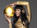 Naomi Campbell poses as World Cup trophy with Beats by Dr Dre