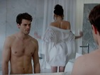 See lift loving, riding-crop stroking and Dornan shirtless in 50 Shades of Grey.