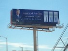 Albuquerque billboard offers the services of 'James M. McGill, Attorney at Law'.