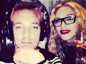Madonna and Diplo in the studio.