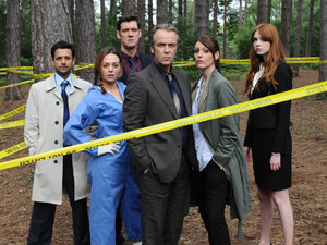 Navin Chowdhry, Daisy Beaumont, Adrian Bower, John Hannah, Suranne Jones & Karen Gillan in series 3 of A Touch of Cloth