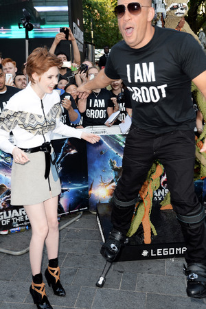 LONDON, ENGLAND - JULY 24: Vin Diesel and Karen Gillan attend the European premiere of 'Guardians Of The Galaxy' at The Empire Leicester Square on July 24, 2014 in London, England. (Photo by Dave J Hogan/Getty Images)