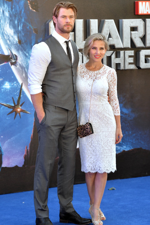 LONDON, ENGLAND - JULY 24: Chris Hemsworth and Elsa Pataky attend the UK Premiere of 'Guardians of the Galaxy' at Empire Leicester Square on July 24, 2014 in London, England. (Photo by Anthony Harvey/Getty Images)