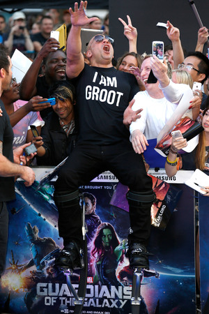 LONDON, ENGLAND - JULY 24: Vin Diesel attends the UK Premiere of 'Guardians of the Galaxy' at Empire Leicester Square on July 24, 2014 in London, England. (Photo by Tim P. Whitby/Getty Images)