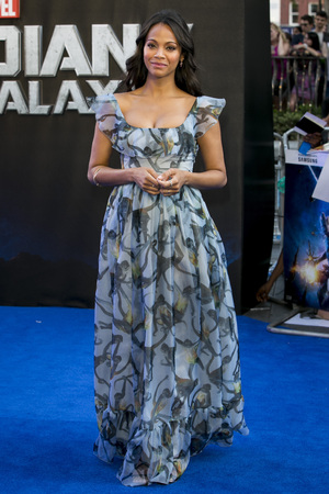 LONDON, ENGLAND - JULY 24: Zoe Saldana attends the UK Premiere of 'Guardians of the Galaxy' at Empire Leicester Square on July 24, 2014 in London, England. (Photo by Tim P. Whitby/Getty Images)