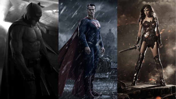 Ben Affleck, Henry Cavill, Gal Gadot a Batman v Superman: Dawn of Justice Trinity