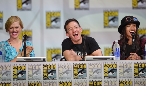 Janet Varney, David Faustino and Seychelle Gabriel attend the Nickelodeon: Legend Of Korra: Book 3 panel at Comic-Con International 2014 - Day 2