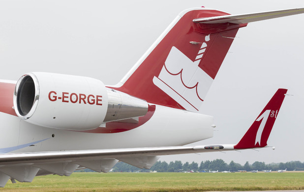 A Bombardier Challenger 601 private jet operated by Hangar8 plc which has been painted with a Happy Birthday message to Prince George
