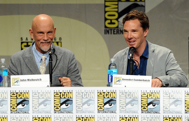 Benedict Cumberbatch and John Malkovich attend the DreamWorks Animation presentation during Comic-Con International 2014