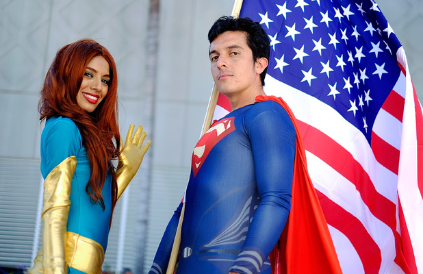 Belinda Sainz and Bersain Gutierrez portray the characters Phoenix and Superman during the 45th annual San Diego Comic-Con