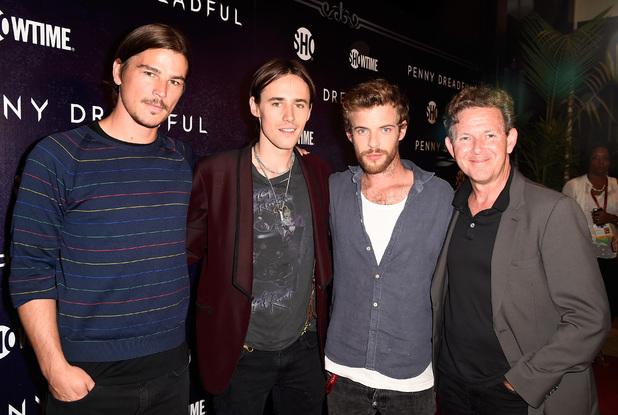 SAN DIEGO, CA - JULY 24: (L-R) Actor Josh Hartnett, actor Reeve Carney, actor Harry Treadaway, and writer John Logan attend Showtime's 'Penny Dreadful' premiere during Comic-Con International 2014 at Hilton Bayfront on July 24, 2014 in San Diego, California. (Photo by Frazer Harrison/Getty Images)