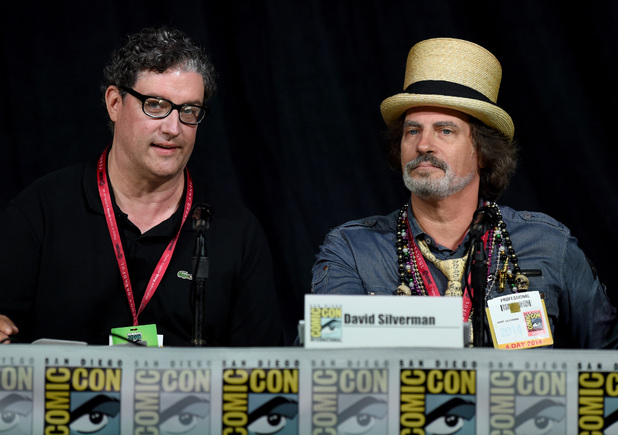 Writer/producer Al Jean (L) and writer/director David Silverman attend FOX's 'The Simpsons' panel