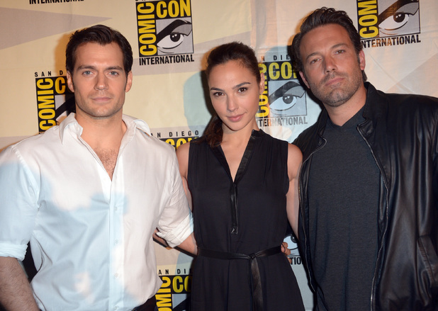 Actors Henry Cavill, Gal Gadot and Ben Affleck attend the Warner Bros. Pictures panel and presentation